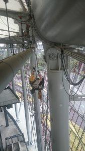 Kładzenie kabli na wysokościach